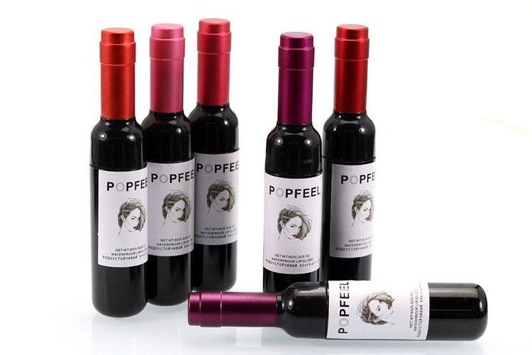 Popfeel الشفاه ملمع الشفاه أحمر زجاجة النبيذ أحمر الشفاه ماتي lipgloss 6 ألوان جديدة ماركة ماكياج liqiud أحمر ماء dhl