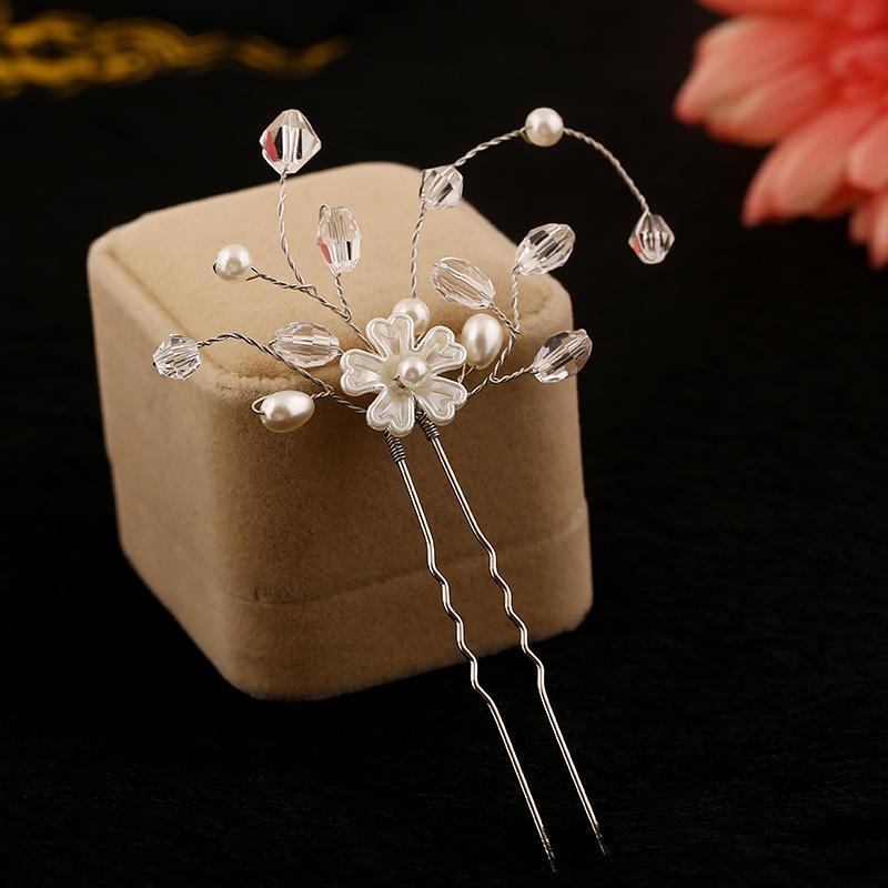 1 Adet El Yapımı Kristal Boncuk Çiçekler Saç pins Gelin Saç Aksesuarları Inci Takı Vintage Düğün Saç Sopa Pageant Firkete