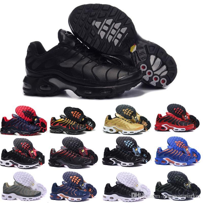 san francisco 21dff 6ed28 Acheter Nike TN Plus Air Max Airmax TN Plus Triple Noir Blanc Raisin Cargo  Kaki Hyper Violet Hommes Femmes Chaussures De Course Randonnée Jogging  Marche ...