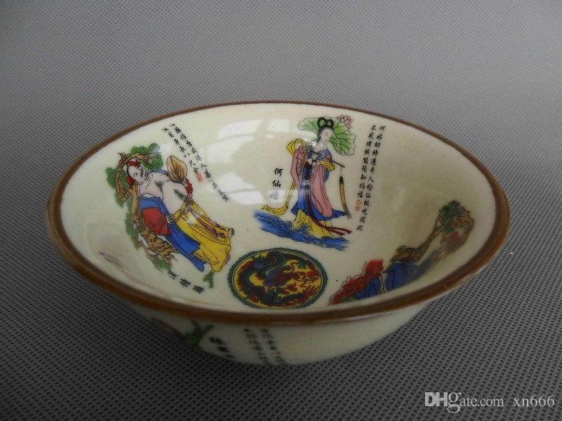 DELICATE CHINESE HANDWORK PORCELAIN ANCIENT 8 IMMORTAL BOWL