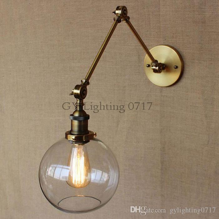 Preto Chrome Bronze Ouro braço oscilante luzes de Parede Globo de vidro abajur de iluminação para casa arte decorativa lâmpada de parede sconce fixação deco