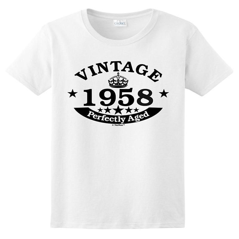 6f62695fc Women Kawaii Shirt Short Sleeve T Shirt 60th Birthday Gift Harajuku Vintage  1958 Perfect Aged Crown Ladies Hot Selling T Shirt Designer White Tee Shirts  ...