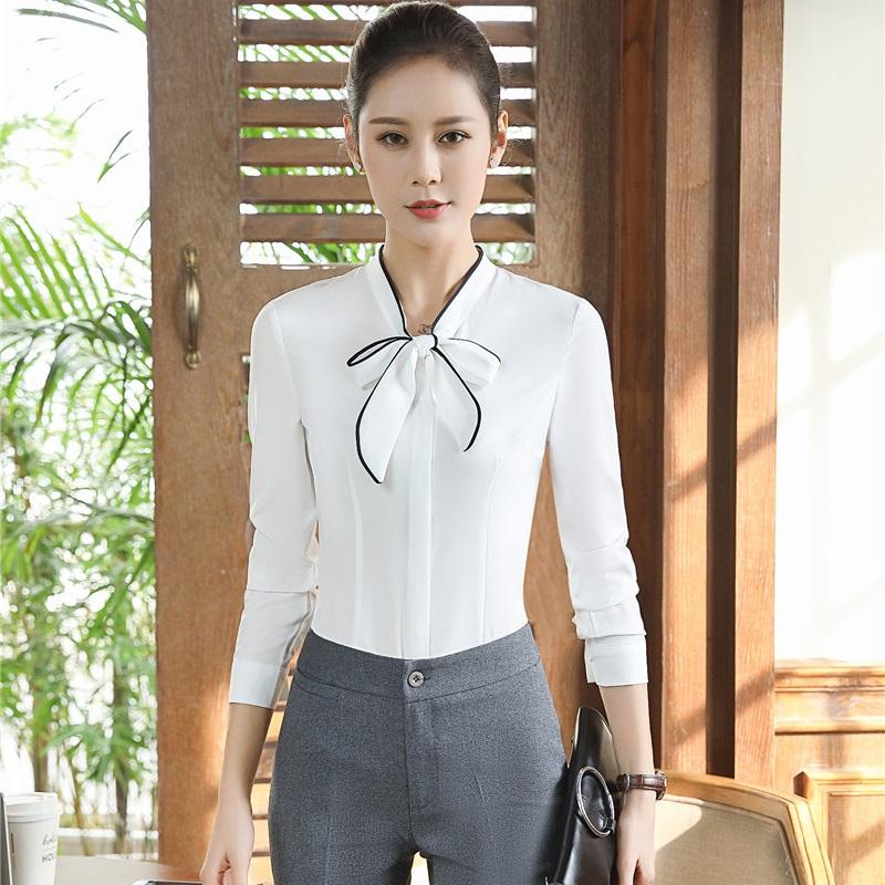 f6be5a57065a 2019 Novelty White Long Sleeve Formal Pantsuits With Blouses And Pants  Professional Business Suits Women Work Wear Outfits From Fitzgerald10