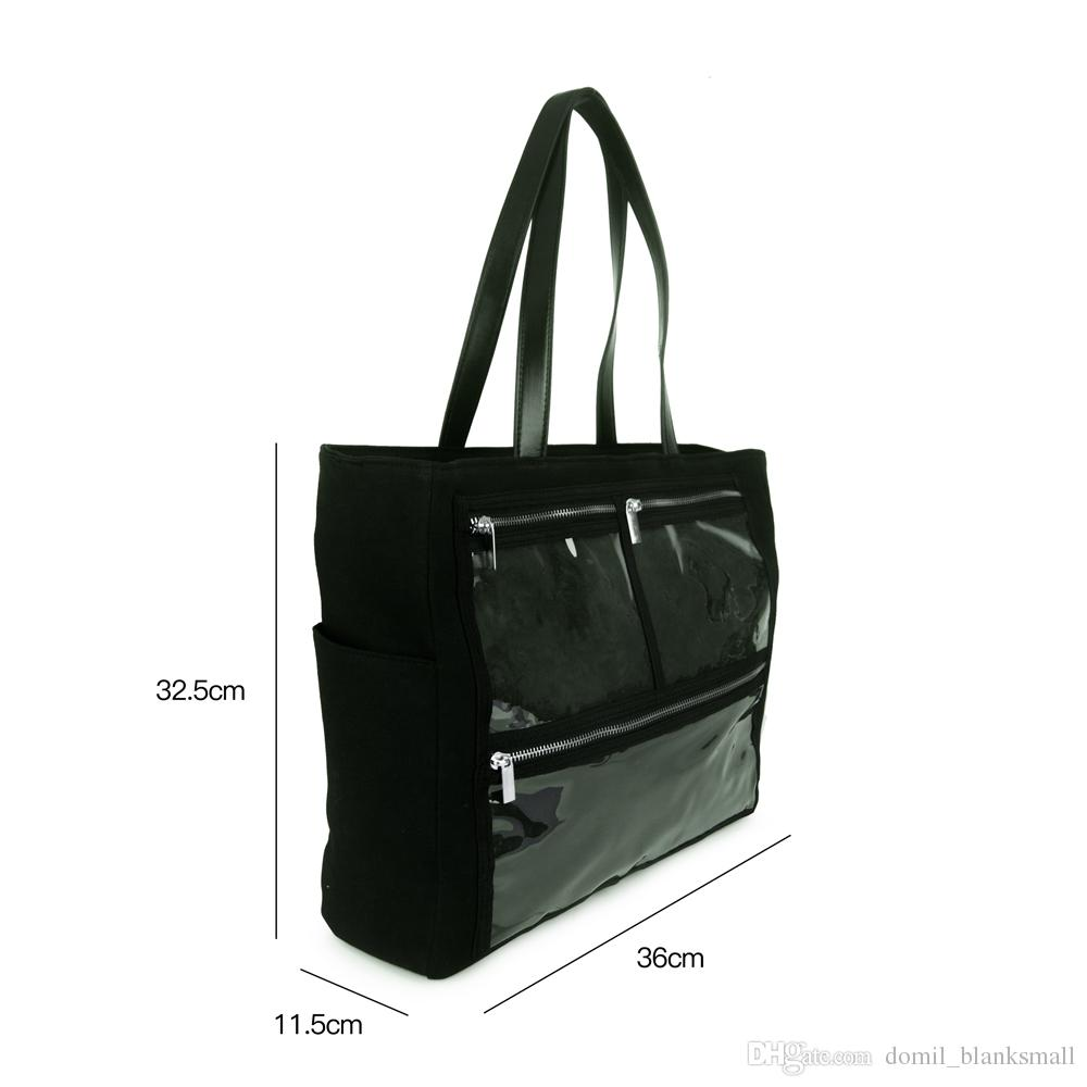 Wholesale Solid Black Canvas Essential Oils Handbag Front PVC Display Tote  Bag With Zipper Pockets DOM109982 Satchel Messenger Bags From  Domil blanksmall ec2491d70e196