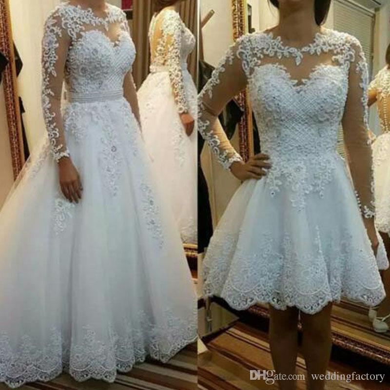 0c1e31809bdd Discount Stunning Wedding Dress With Detachable Skirt Removable Overskirt  Two In One Bridal Gowns Sheer Neck Long Sleeves Exquisite Lace Appliques  Wedding ...