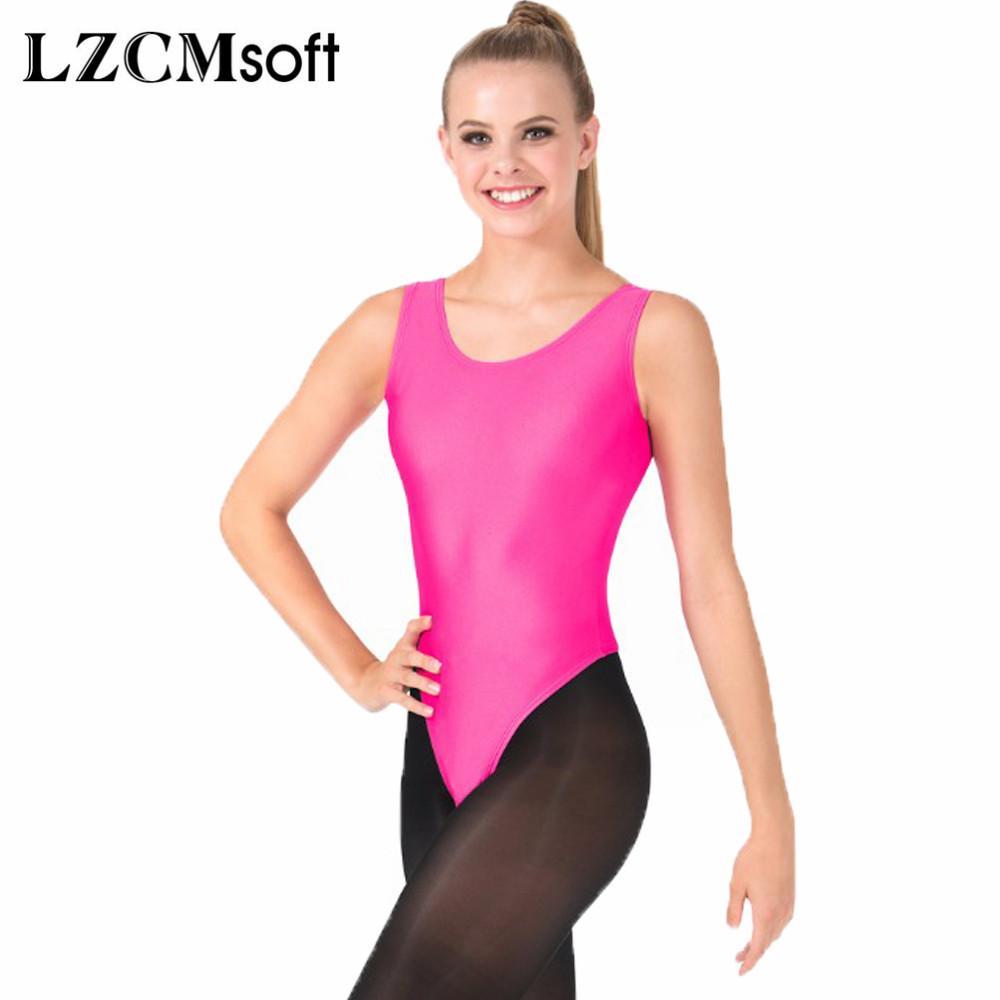 ec6465ca523 LZCMsoft Women s Sexy Tank Gymnastics Leotard Spandex Lycra Sleeveless  Ballet Dance Leotards Bodysuit Stage Performance Tops