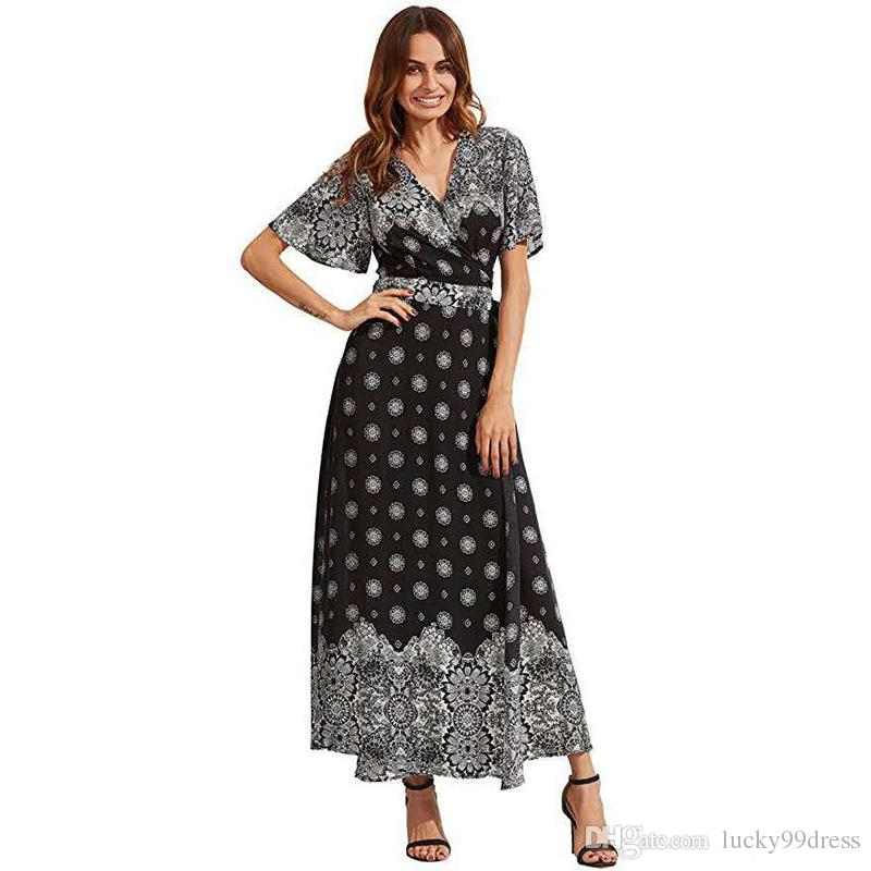 3f399a873ac Summertime Hot Style Deep V Neck Horn Sleeve European And American Women  Sexy Printed Dress Slit Skirt White Dresses Party Long Dresses Women From  ...