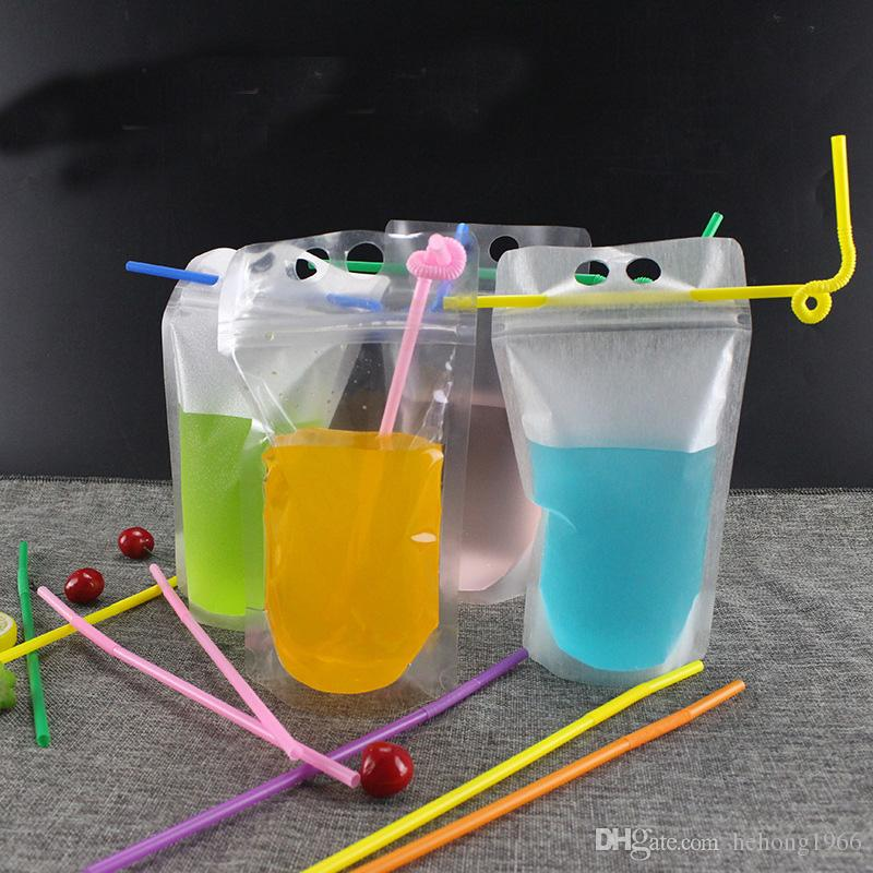Boisson transparente Pouches Sac clair boissons givré auto Sealed jus café boire du lait sacs en plastique en plastique Portable 0 29rf Z