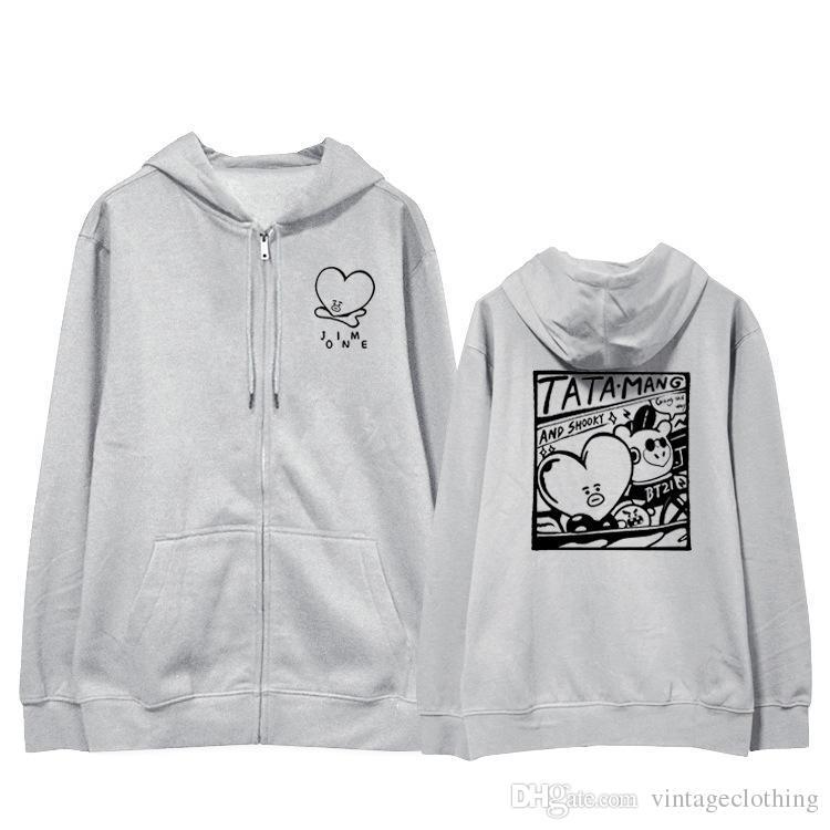 80073f234ff12 2019 BTS Fans Club Fashion Bt21 Blouse Long Sleeve Hoody Cool Sweatshirt  Harajuku Man Gray Hoodie With Hat From Vintageclothing
