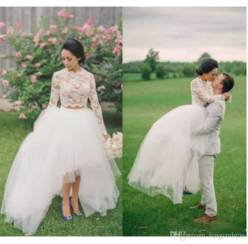Manga longa Vestidos De Casamento Lace Elegante Ilusão Mangas Compridas Duas Peças de Casamento Varredura Trem Vestidos de Noiva Longos
