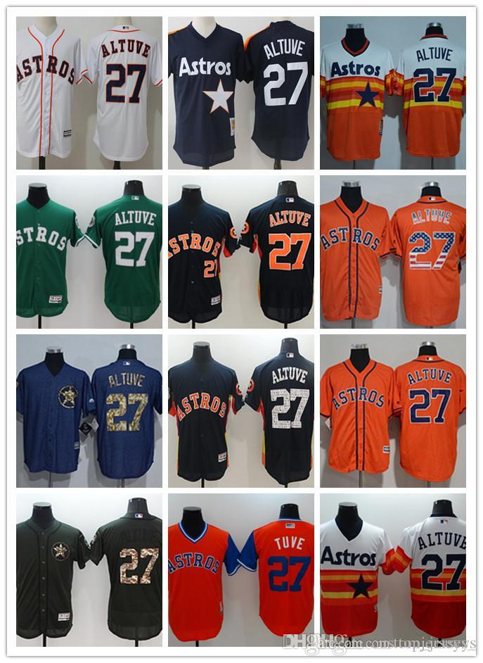 wholesale dealer da25b 916bf custom Men women youth Astros Jersey #27 Jose Altuve Home Blue White  Baseball Jerseys