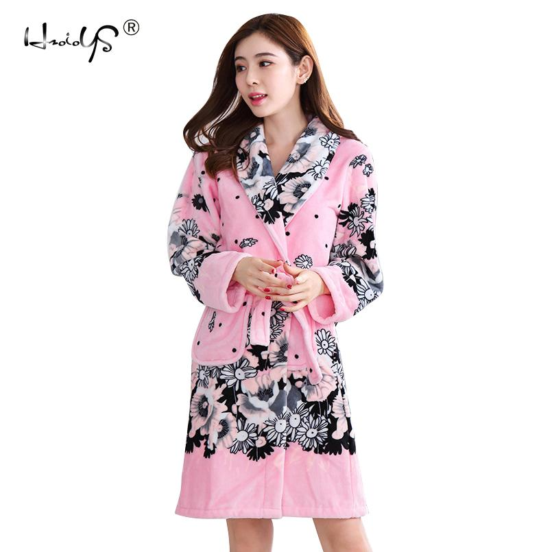 2019 Ladies And Men Long Bathrobe Women Flower Flannel Kimono Bath
