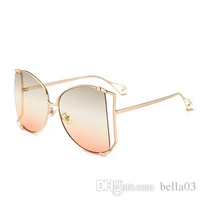 174739eb89cf 2018 Oversized Round Butterfly Sunglasses Women Retro Vintage Lady Metal  Frame Pearl Tips Sun Glasses Shades Luxury Brand Designer Boots Sunglasses  Tifosi ...