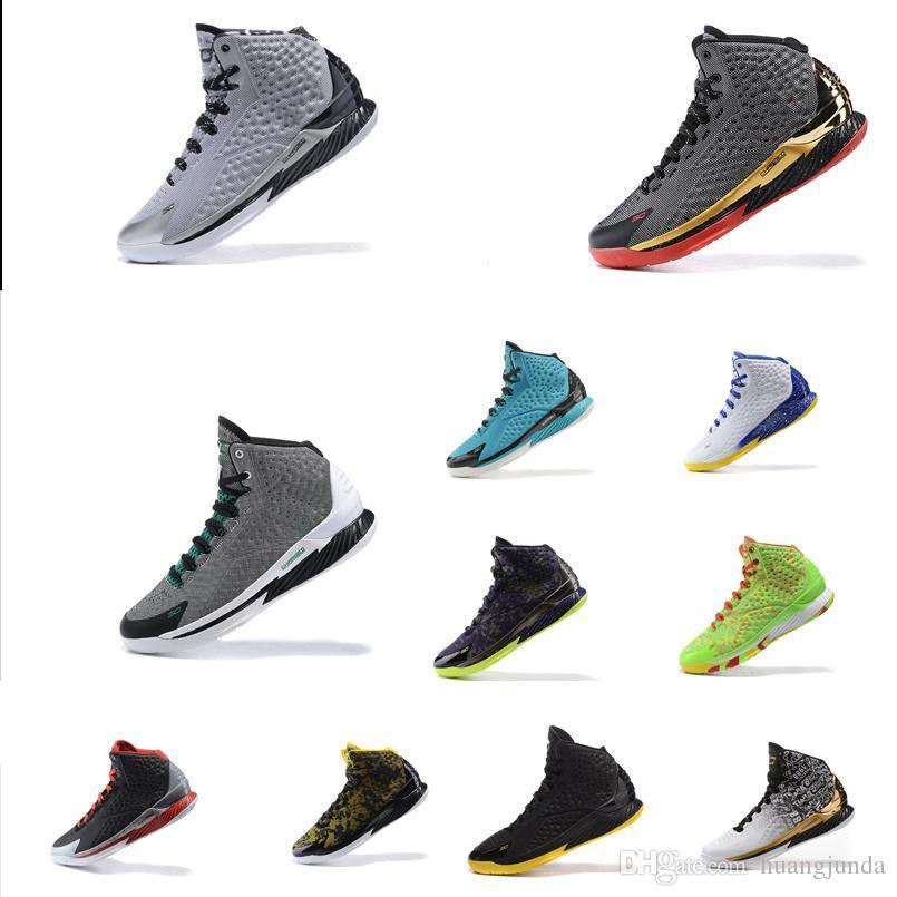 2bf9f5c796525 Compre Barato Para Hombre UA Curry Un Corte Medio Zapatos De Baloncesto  Altos Negro Blanco Gris BHM Navidad Easte Gold Stephen Currys 1 Sneakers  Botas A ...