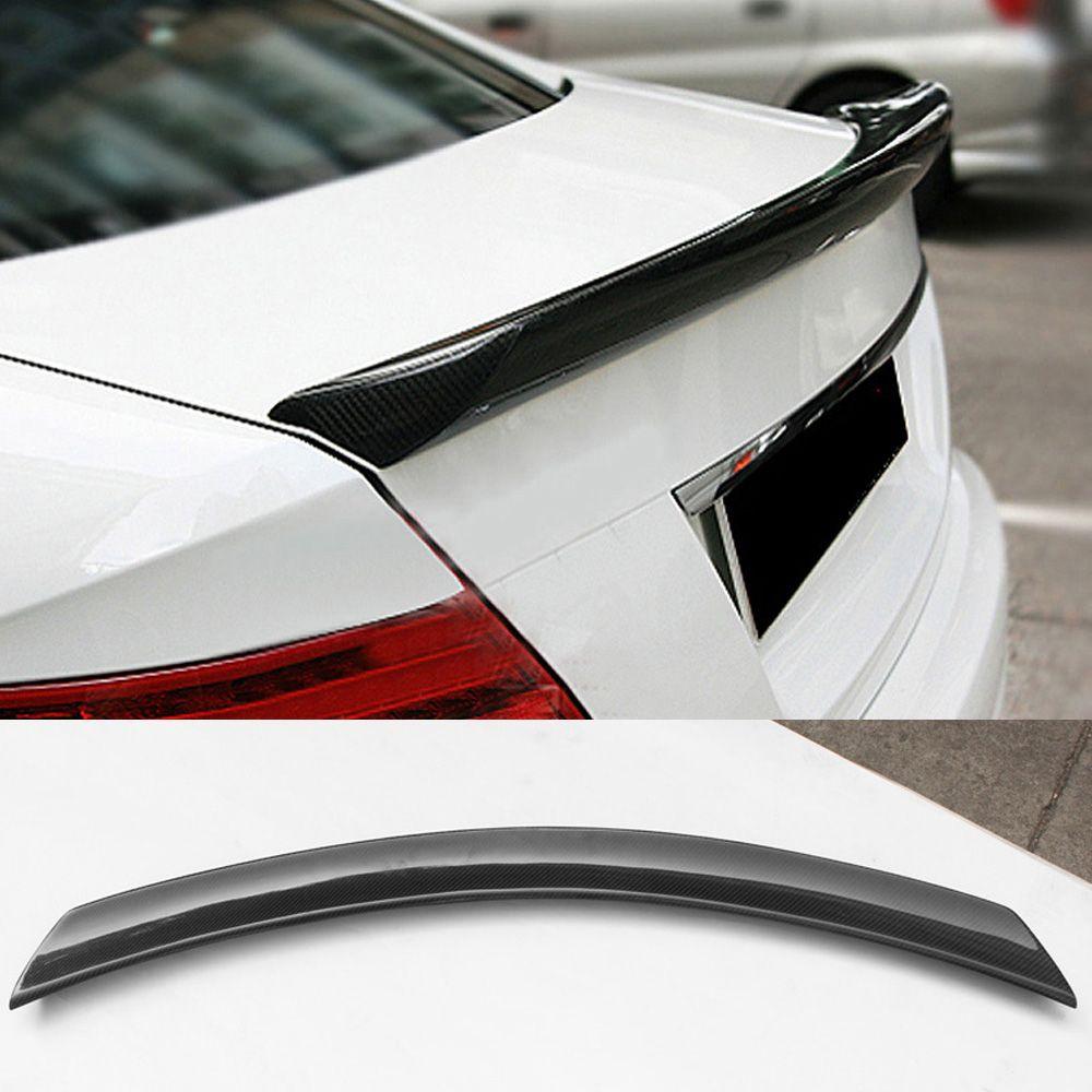V Styling Carbon Fiber Car Trunk Rear Spoiler Wing Lip for Mercedes-Benz C  Class W204 C180 C200 C250 C300 C63 AMG Sedan 4-Door 2008-2014