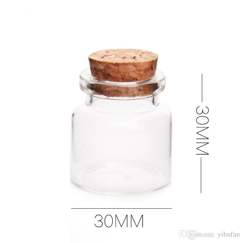 Mini Glass Bottles With Cork Wood 10ml Transparent Glass Bottle Jars Vials Clear Drift Bottle 30x30mm Storage Container
