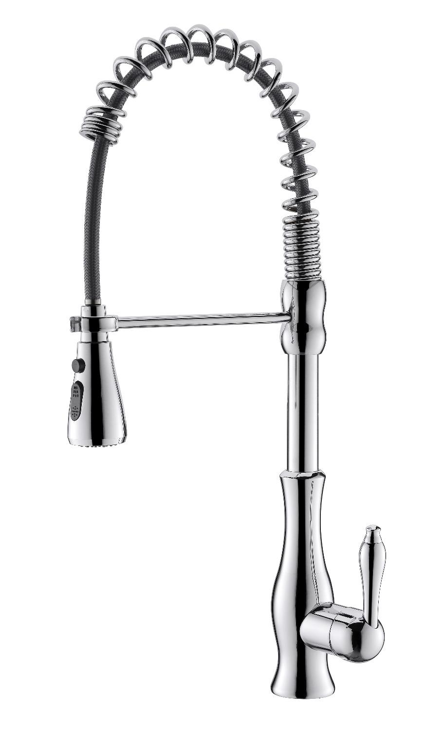 Free Ship Modern Tall High Pull Out Pull Down Chrome Color Sprayer