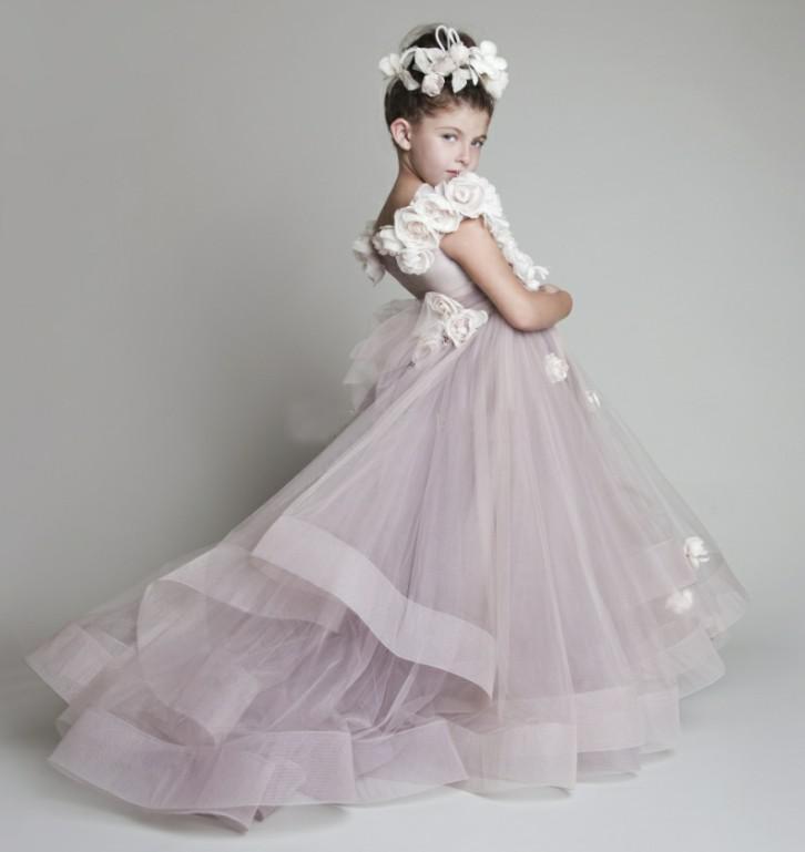 на заказ Новый Прекрасный новый тюль трепал цветы ручной работы одно плечо цветок девушки платья девушки театрализованное платья