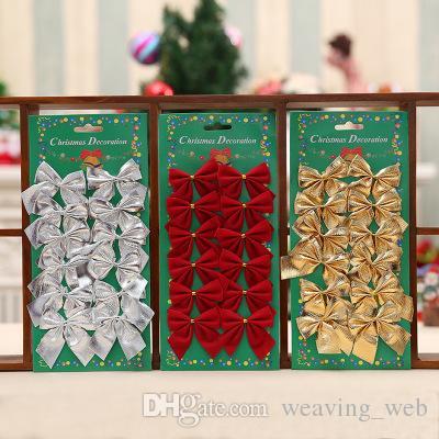 2018 christmas bowknot decor xmas tree ornaments christmas tree tie bow decorations bag decorative flowers from weaving web 0 41 dhgate com