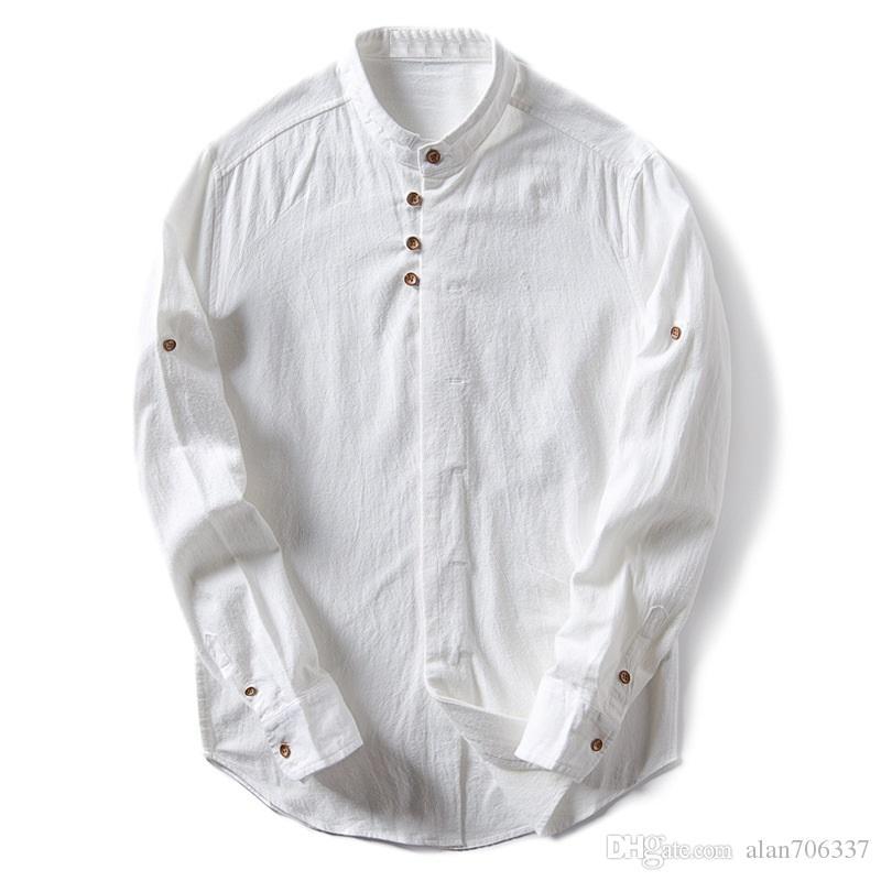 Acquista Camicia In Lino Di Cotone Da Uomo Maniche Lunghe In Stile Cinese  Con Collo Alla Coreana Tradizionale Kung Fu Tang Camicia Da Uomo In Tessuto  ... d4f95adb359