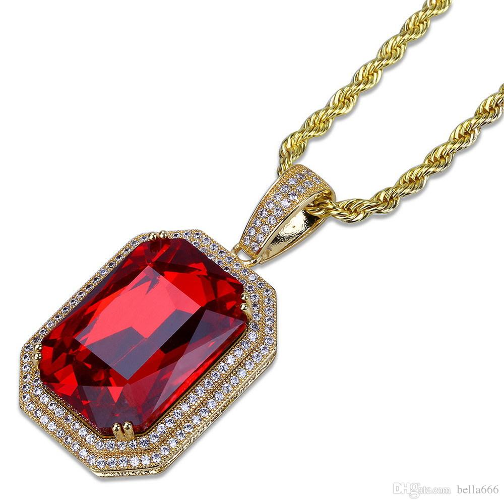 Men's Hip Hop Cubic Zirconia Ruby Pendant Necklace Copper Red Gem Stones Pendants Necklaces Jewelry With Stainless Steel Rope Chain