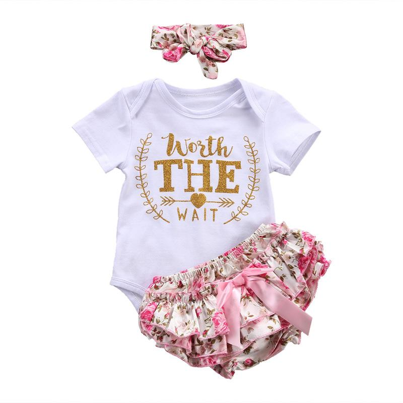 31797c223cb 2019 Cute Newborn Baby Girl Clothes 2018 Worth The Wait Baby Bodysuit Romper +Ruffles Tutu Skirted Shorts Headband Outfits From Bparrot love999