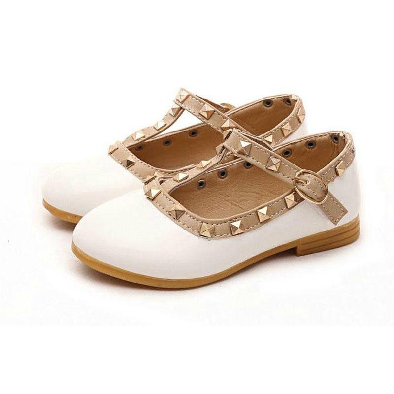 15aa8996ac02c New Spring Rivets Children Princess Flat Shoes Children Heels Lil ...