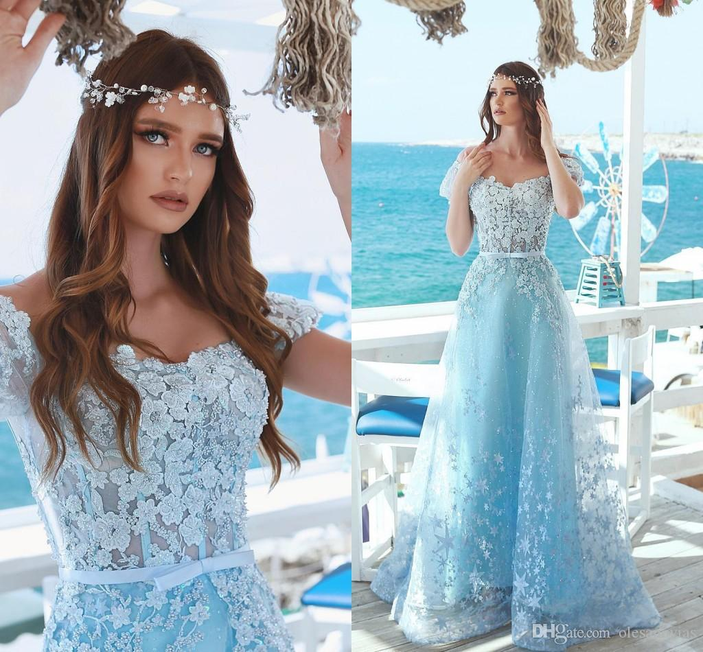 0bc45790a53 Light Sky Blue Floral Embellished Corset Bodice Fitted Prom Dress 2018  Bateau Short Sleeve A Line Princess Beaded Tulle Formal Evening Gowns  Teenage Prom ...