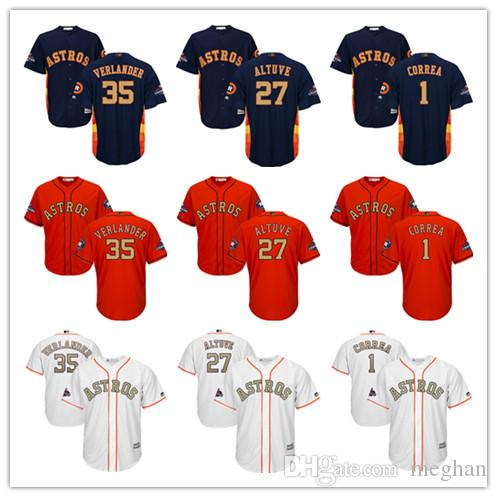 Men Youth Majestic Astros Jersey #1 Carlos Correa 27 Jose Altuve 35 Justin Verlander White 2018 Gold Program Kids Boys Baseball Jerseys
