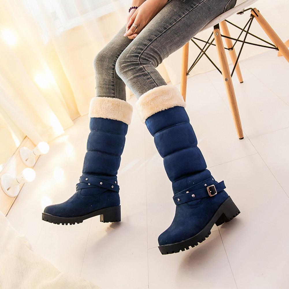 0f614a4ca875e3 Acheter Lapolaka 2018 En Gros Plus La Taille 34 43 Femmes Neige Bottes Chaussures  Hiver En Peluche Russie Fourrure Chaude Talon Chunky Bottes Chaussures ...