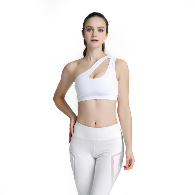 21cb751574bdb 2019 2017 Sexy One Shoulder Solid Sports Bra Women Fitness Yoga Bras Gym  Padded Sport Top Athletic Underwear Workout Running Clothing From Duriang