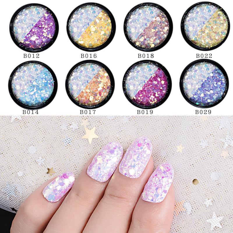 Nagelglitzer Schönheit & Gesundheit 1 Box Uv Gradienten Nagel Pailletten Flakes Scheibe Make-up Gemischte Glitter Pulver