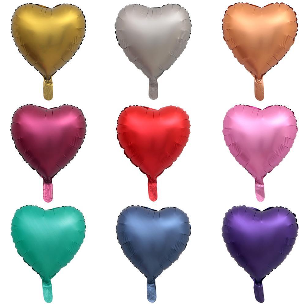 50pcs 18 Pouces Coeur Ballon Métallique Air Mariage Décoration Joyeux Anniversaire Ballon Couleur En Métal Coeur Ballon Hélium