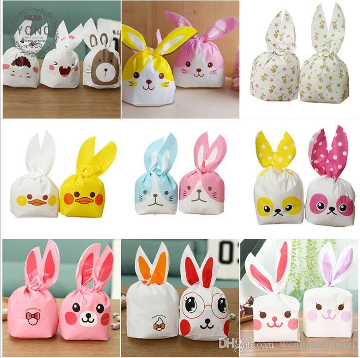 Easter Bunny Gift BagWedding Cake Box Cute Plastic Bag Gift Bag Rabbit Ear Biscuit Candy Bags for Party Food Cookie Packaging 13.5*22cm