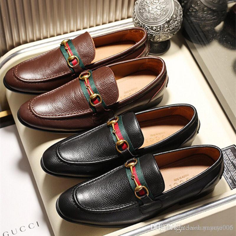 2a0f5c0ef Compre Top Sapatos De Couro Genuíno Dos Homens Respirável Mocassins Para  Homens De Negócios Vestido Sapatos De Couro Sapatos Rasos Mens Moccasins De  ...
