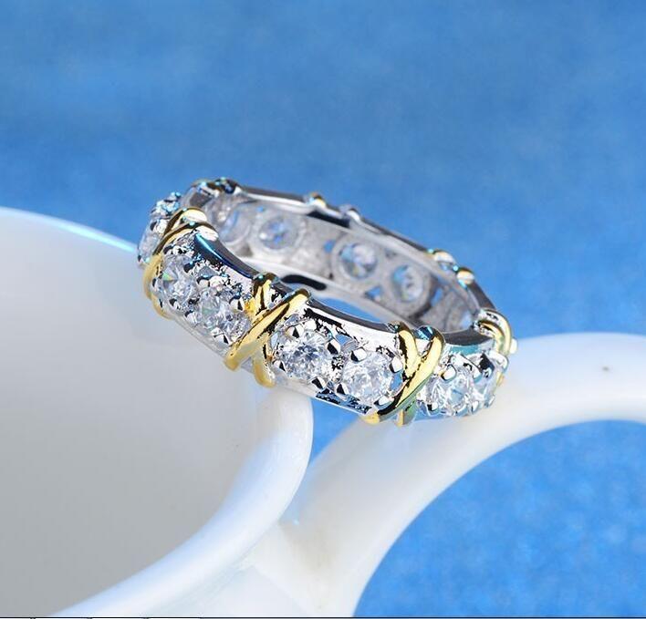 Стерлингового Серебра 925 Природный Драгоценный Камень Белый Сапфир Бриллиант Вечность Stackable Band Кольцо Свадьба Обручальное Изящных Ювелирных Изделий