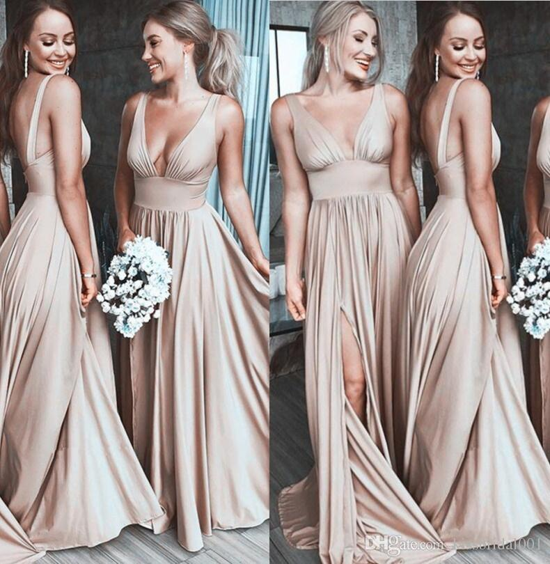 Champagne Gold Bridesmaid Dresses 2018 Long