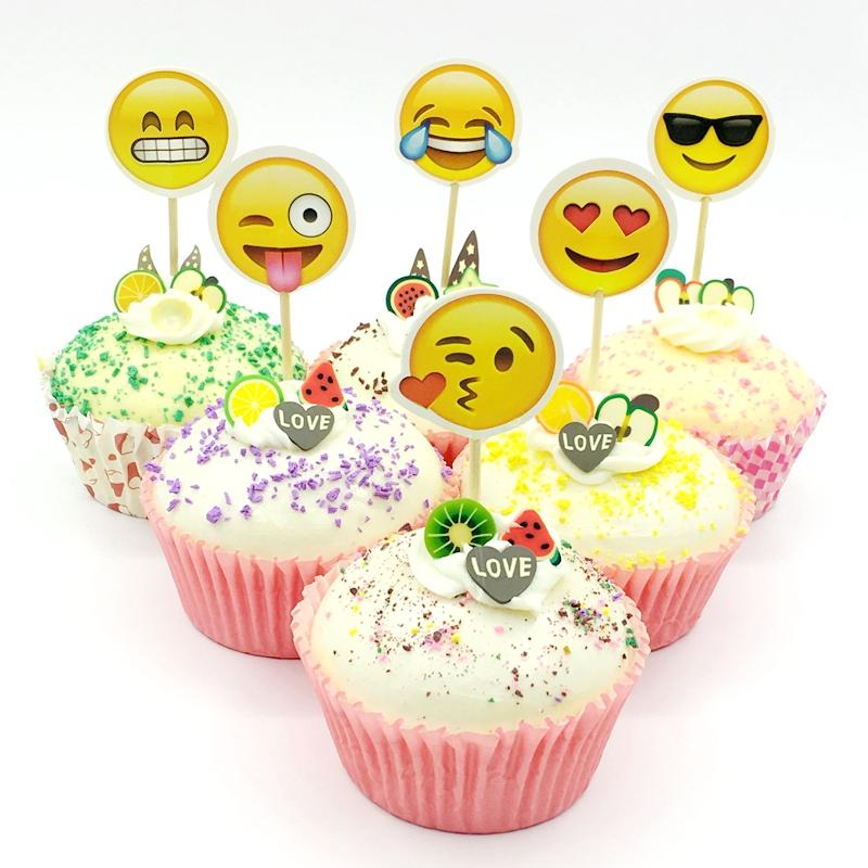 2019 Cartoon Emoji Mood Expression Theme Cupcake Topper Pick Child Kids Birthday Cake Party Wedding Decoration Smile Face Flag From Zhanhuahome