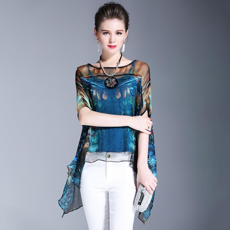 Compre Elegante Azul Imitar Blusa De Seda Real 2018 Verão Novas Mulheres  Net Fios Patchwork Impressão Moda Vintage Irregular Irregular Camisa JX341  De ... d9a31a345c0b2