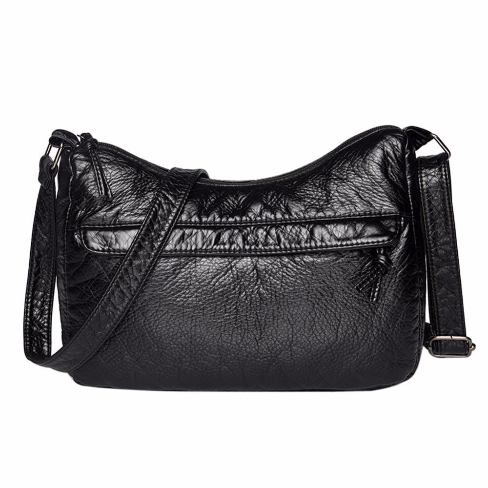 8b992c690164 Messenger Women Simple Tassel Crossbody Messenger Soft PU Leather ...