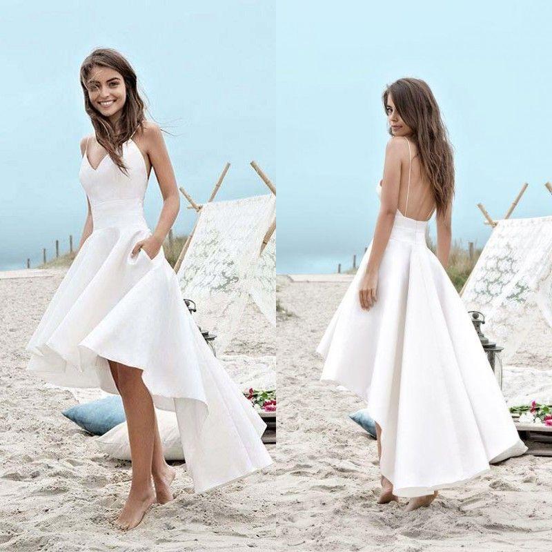 10920084108 Discount 2019 Cheap Beach Wedding Dresses A Line Simple Design Informal Wedding  Gowns Spaghetti Straps Backless Hi Low Bridal Dress Bridesmaid Dress Cheap  ...