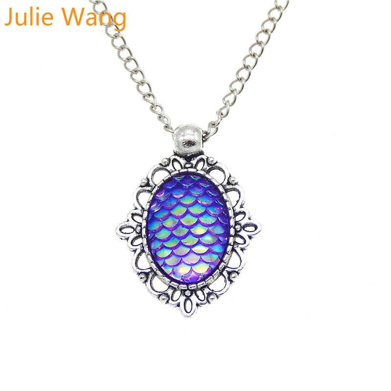 Julie Wang Resin Mermaid Scale Skin Alloy Antique Silver Necklace Pendants Link Chain Choker Women Girls Fashion Jewelry Gifts