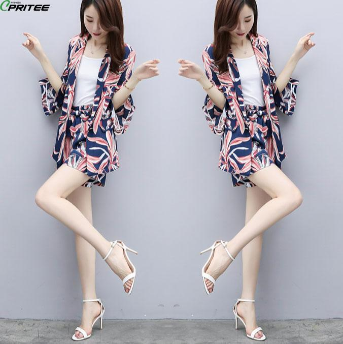 63543afb32 2019 Summer Print Shorts Set Ensemble Femme Deux Pieces Woman Suit Conjunto  Feminino Office Work Top And Shorts Two Piece Set From Bdress001, ...