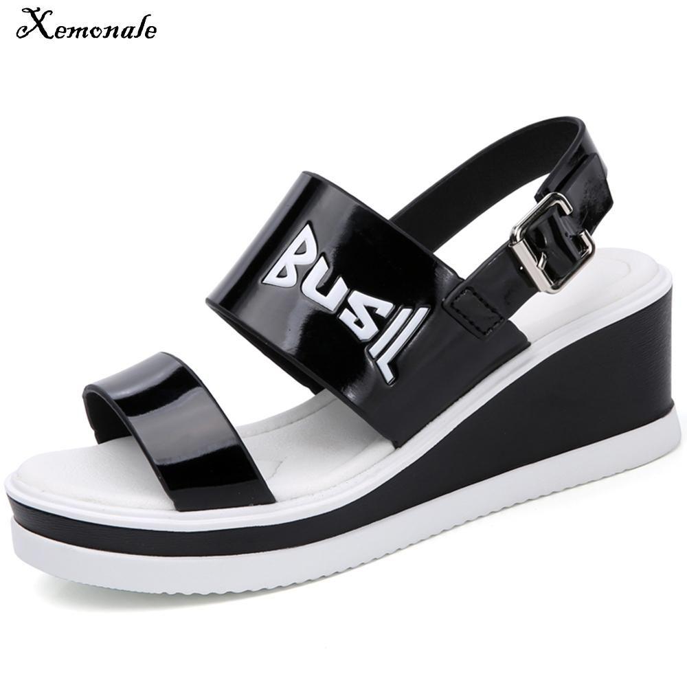 987551c6b8de Xemonale Platform 2018 Sandals Women Leather Shoes Wedge High Heel Female  Black Sandals Buckle Graffiti Ladies Summer Shoes Online with  40.0 Piece  on ...