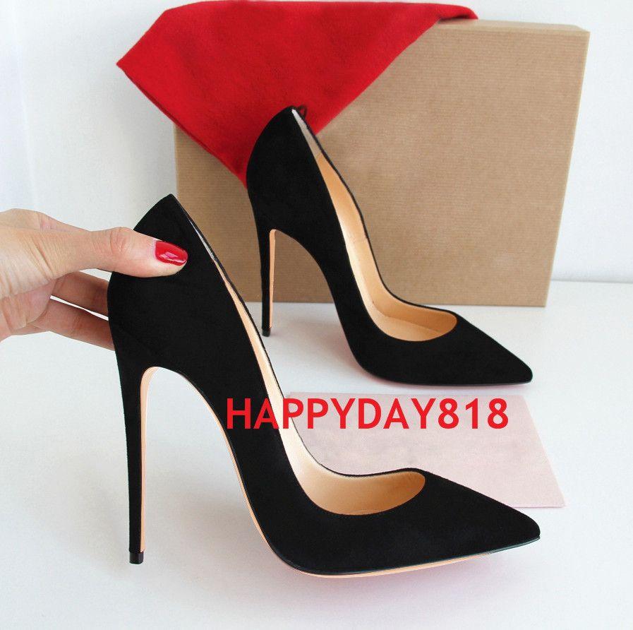 Scarpe da donna di modo di trasporto libero Scarpe scamosciate nere Punta sottile tacchi alti Tacchi alti Scarpe stiletti Scarpe da donna 120mm