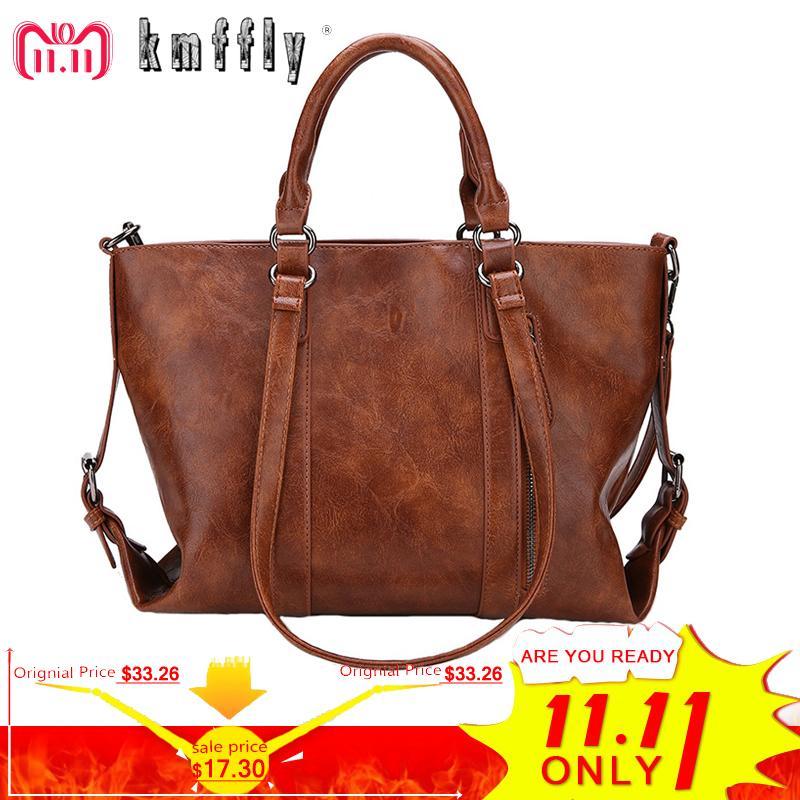 2019 Fashion KMFFLY 2018 New Women Bag Designer Vintage Pu Leather Large  Women Messenger Bags Designer High Quality Casual Shoulder Tote Bag Leather  Purses ... d6f3bb16a54b