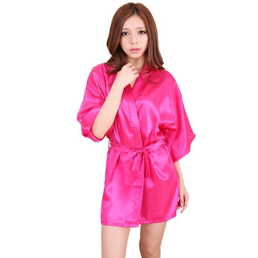 Plus La Taille S-XXXL Rayon Peignoir Femmes Kimono Satin Long Robe Sexy Lingerie Classique Chemise De Nuit De Nuit Avec Ceinture LGD03