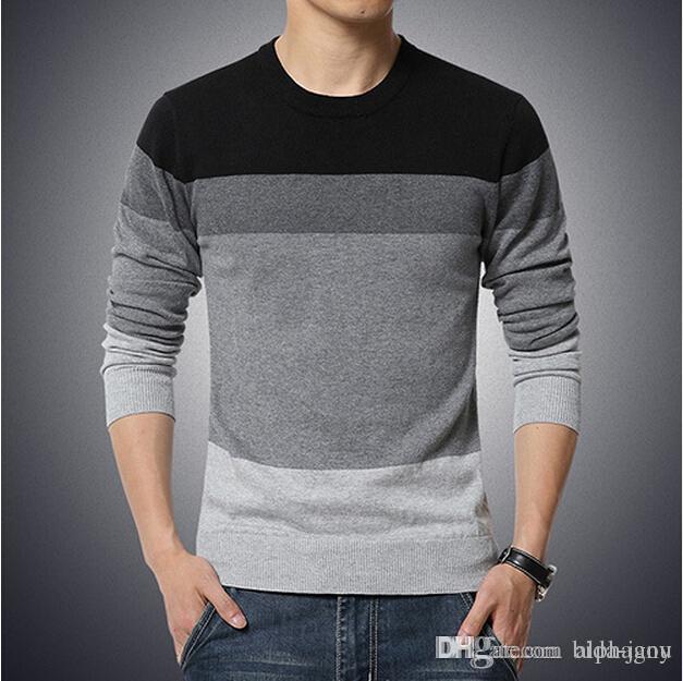 b24d8d0ec56f0 2016 New Autumn Fashion Brand Casual Sweater O-Neck Striped Slim Fit ...