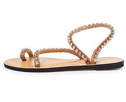 Verano 2018 Niñas Rhinestone Bohemia Estilo clip-dedo del pie sandalias planas remaches mujeres sandalias de playa zapatos