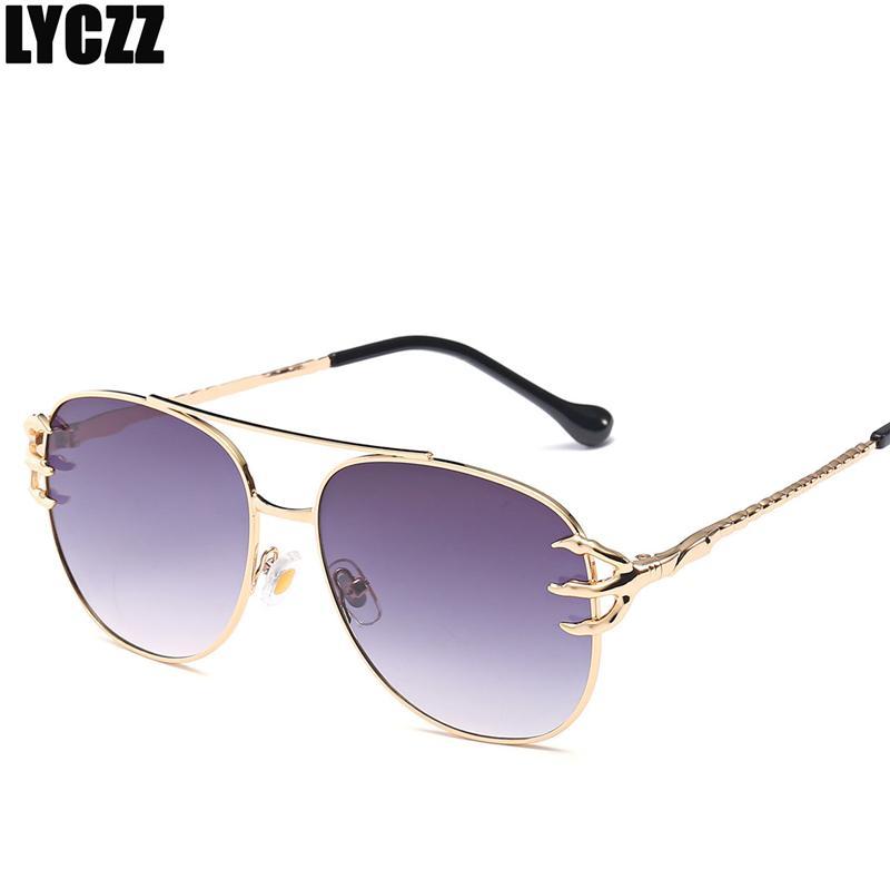 Compre Lyczz Nova Garra Óculos De Sol Das Mulheres Dos Homens Gêmeos Vigas  De Metal Designer De Marca Óculos De Sol Do Vintage Top Quality Moda Óculos  Para ... 96006dfa65